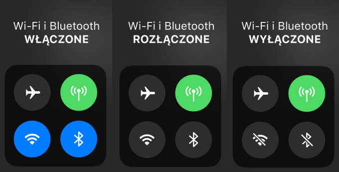 Wi-Fi i Bluetooth w Centrum sterowania (iOS 11)