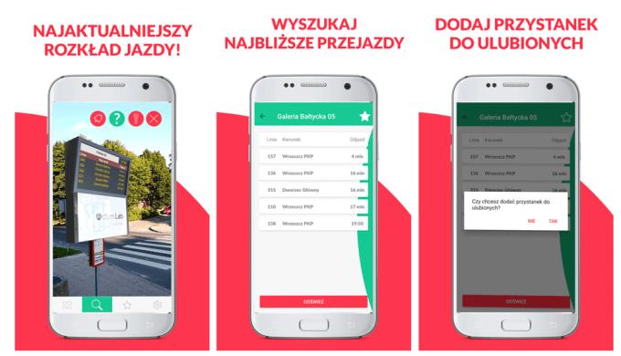 Screeny z aplikacji mobilnej ARbus - wirtualny rozkład jazdy AR