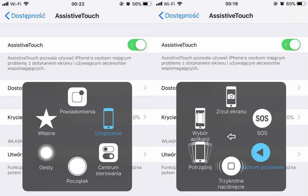 AssistiveTouch iPhone - wirtualne przyciski fizyczne na ekranie