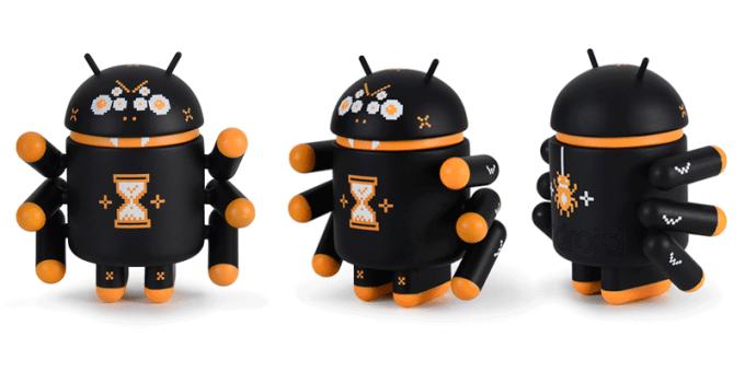 Widok figurki robota Androida Webcrawler z różnych stron