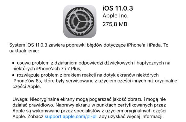 iOS 11.0.3 dostępny do pobrania w trybie OTA