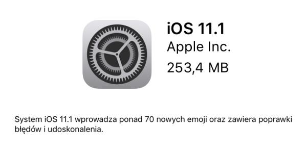 iOS 11.1 dostępny do pobrania w trybie OTA