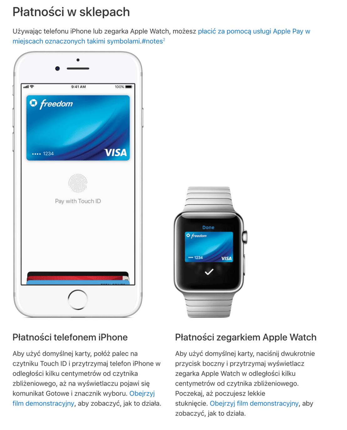 Płatności Apple Pay (za pomoca iPhone'a i Apple Watcha ) w sklepach
