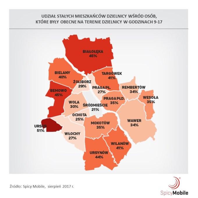 Udział mieszkańców dzielnicy, którzy byli na jej terenie w godz. 9:00-17:00