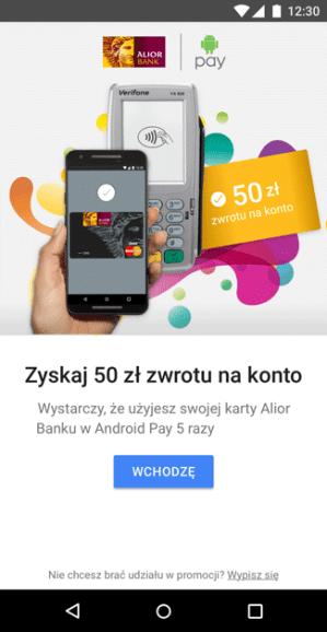 Screen z aplikacji Android Pay - TAPnij KASĘ