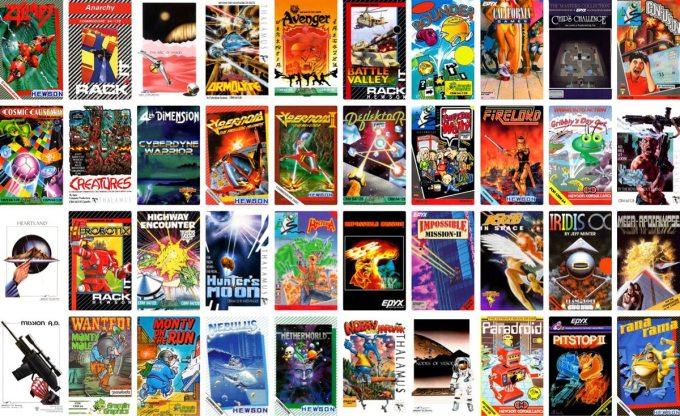 Lista preinstalowanych gier (i ich miniaturki) na komputerze C64 Mini