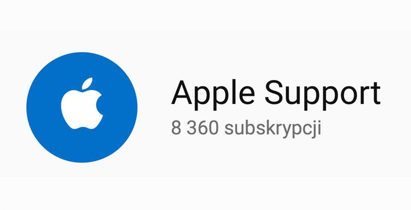 Kanał wsparcia technicznego na YouTube'ie Apple Support