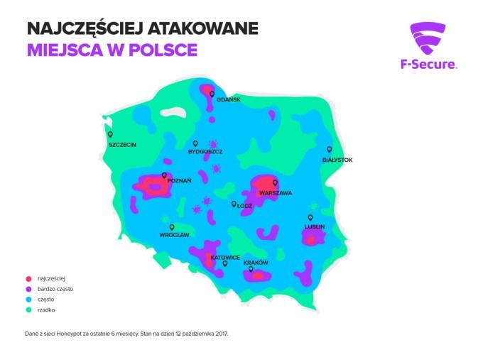 Mapa najczęściej narażanych na cyberataki miejsc w Polsce (2017)