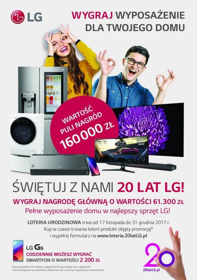 Plakat loterii 20 lat LG w POlsce