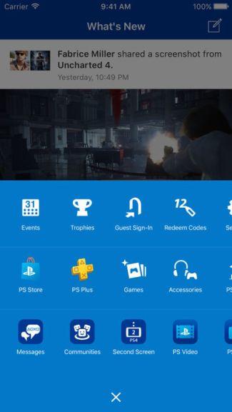 Screen aplikacji mobilnej Playstation App