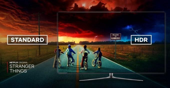 "Podgląd serialu ""Stranger Things"" na telewizorze w HDR (Netflix)"