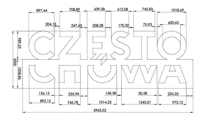 Szkic i proporcje logo Częstochowy