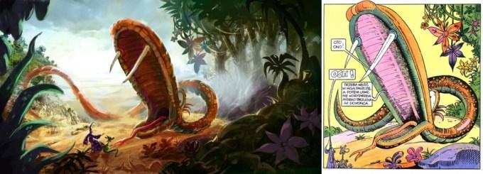 Kadr z filmu (po lewej), komiks (po prawej)
