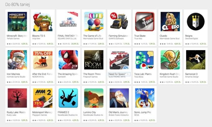 Sekcja z grami mobilnymi do 80% taniej w sklepie Google Play