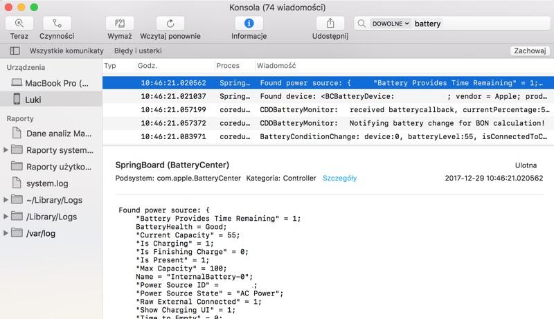 Informacje BatteryHealth w Konsoli na komputerze Mac