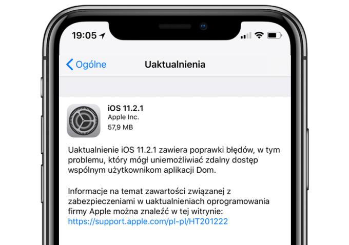 Uaktualnienie systemu iOS 11.2.1