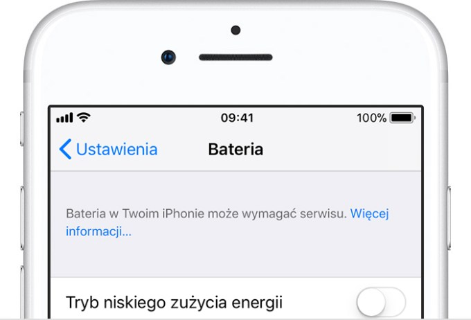 Komunikat o serwisie baterii na iPhone'ie (iOS)