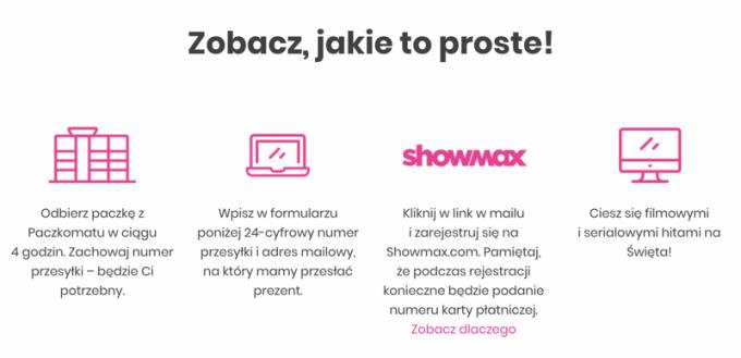 Jak zdobyć kod dostępu do Showmax (1 miesiąc) odbierając przesyłkę z paczkomatu?