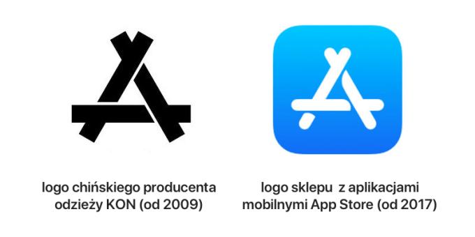 Logo sklepu KON (2007) vs. logo App Store (2017)