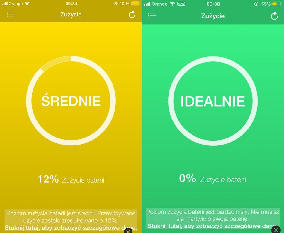 Stan zużycia baterii iPhonea w aplikacji Battery Life (po lewej 2-letni iPhone 6s Plus, po prawej nowy iPhone 7)
