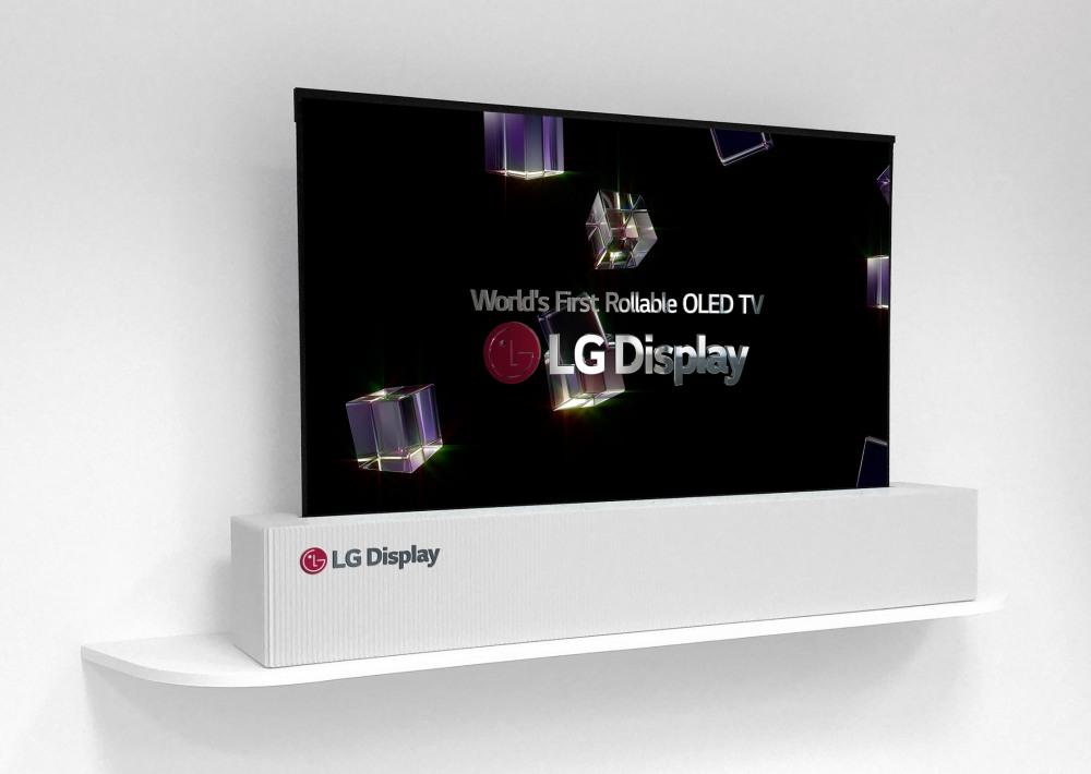 """Rolowany 65"""" ekran OLED 4K telewizora LG Display (rozwinięty)"""