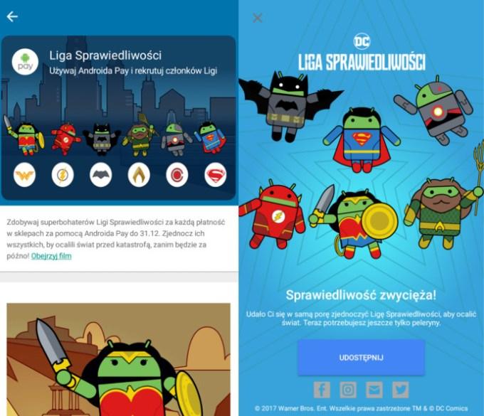 Screen z bohaterami Ligi Sprawiedliwości w polskiej wersji Androida Pay