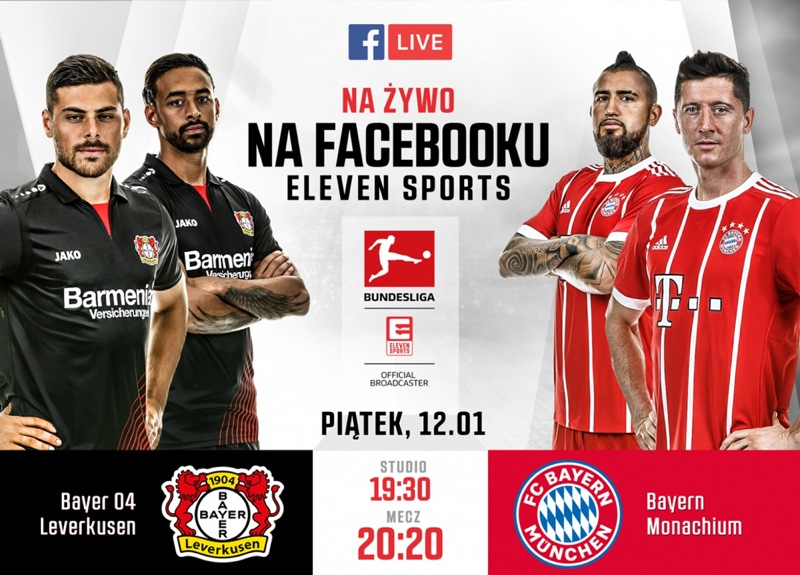 Tranmisja facebook Live meczu Bundesligi 12 stycznia 2018 r. na profilu Eleven Sports