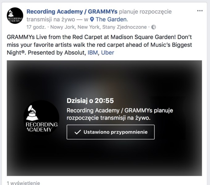 Facebook Live Grammy 2018