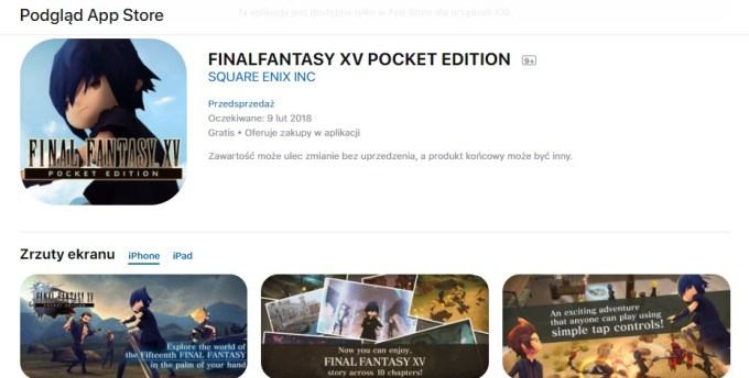 """Final Fantasy XV: Pocket Edition"" - gra mobilna screen ze sklepu App Store"