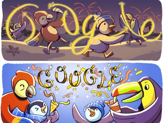 Google Doodle Sylwester 2017 i Nowy Rok 2018
