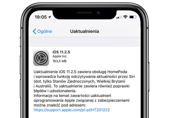 iOS 11.2.5 w trybie OTA
