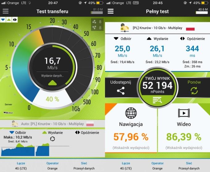 Screen z aplikacji mobilnej nPerf