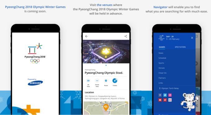 Screeny z aplikacji mobilnej PyeongChang 2018