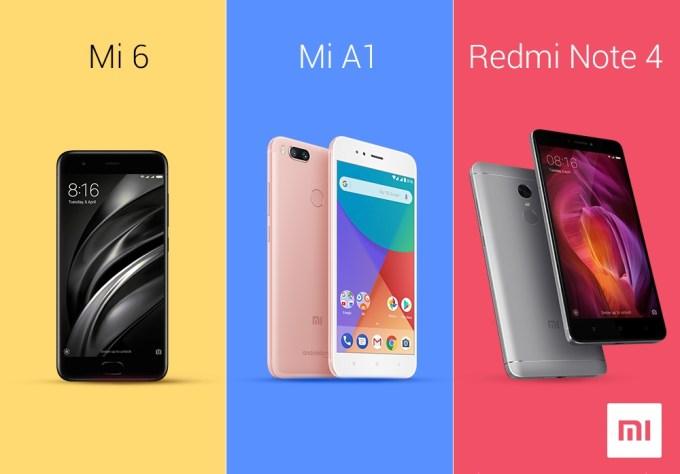 Smartfony Xiaomi (Mi 6, Mi A1, Redmi Note 4)