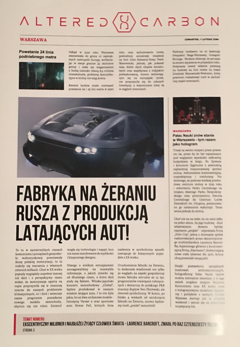 Okładka gazety Altered Carbon z 2384 roku