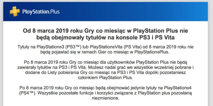 Komunikat PlayStation Plus (8 marca 2019 r.)