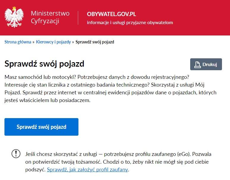 "Usługa ""Mój Pojazd"" - screen"