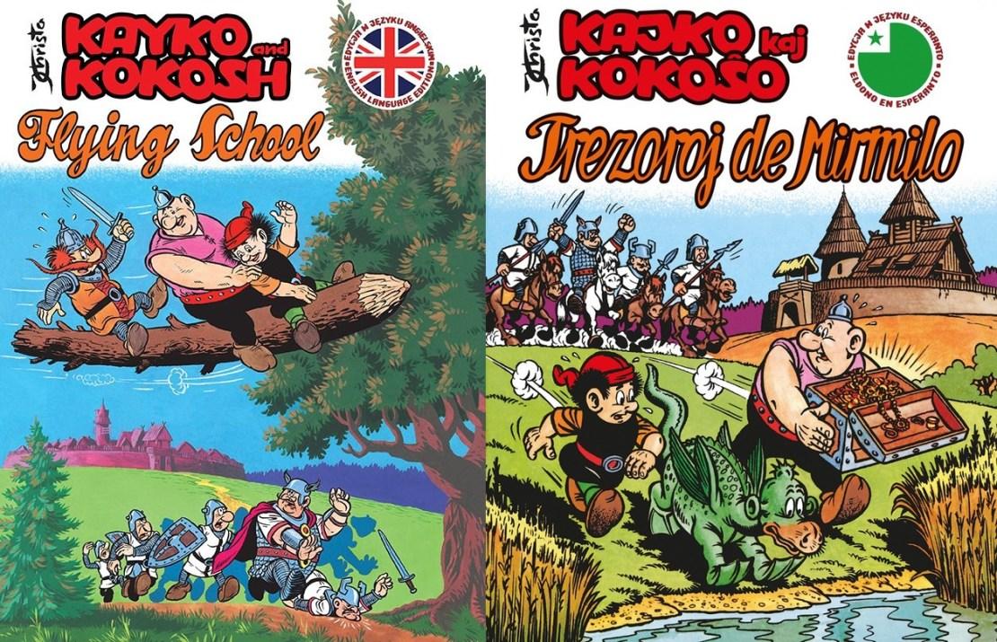 Okładki angielskiego (po lewej) i esperanckiego (po prawej) wydania komiksu Kajko i Kokosz