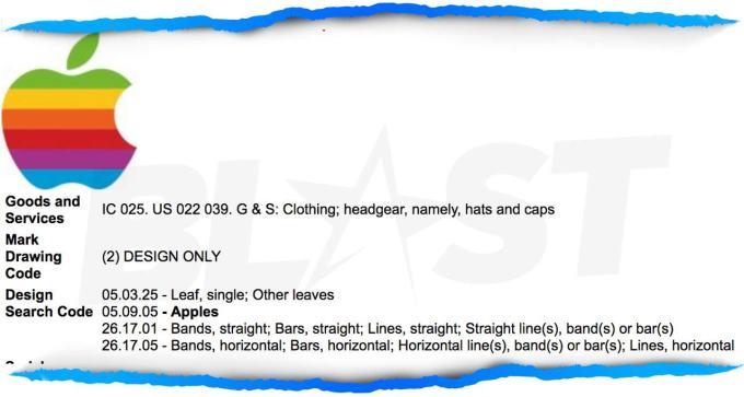 Rzekomy fragment wniosku o znak towarowy (tęczowe logo Apple)
