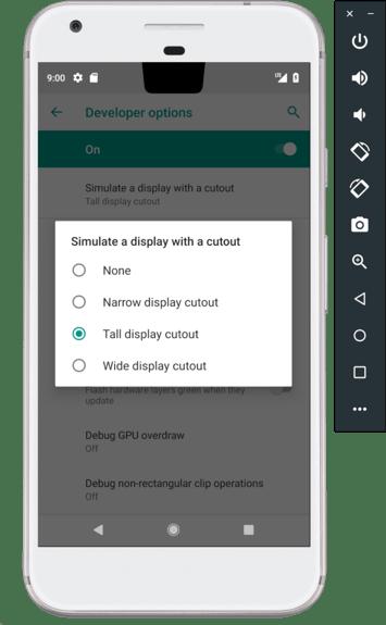 Wsparcie dla ekranów z wycięciem pod systemem Android P