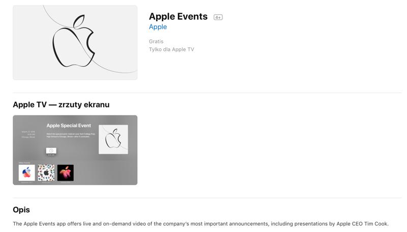 Zrzut ekranu aplikacji Apple Events ze sklepu App Store