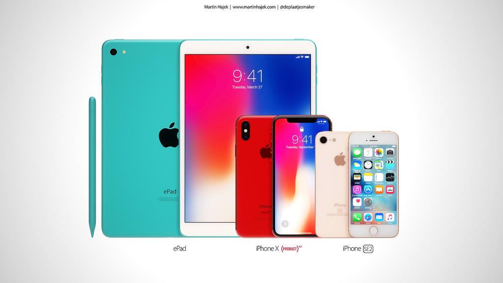 ePad (green), iPhone X RED, iPhone SE2 (koncept by Martin Hajek)
