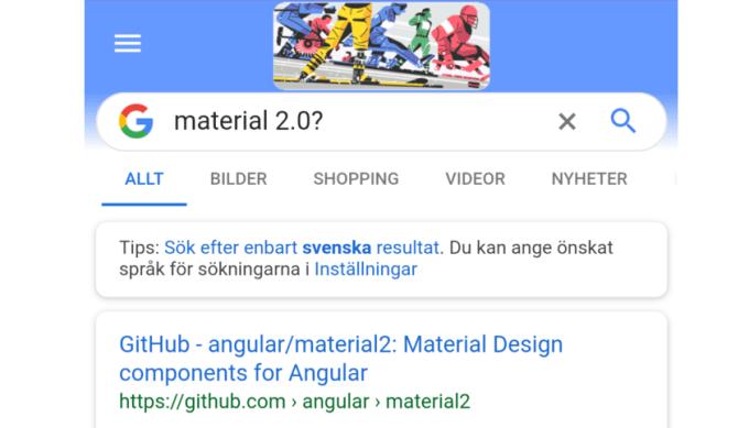 Zaokrąglony pasek wyszukiwania w mobilnej wersji wyszukiwarki Google