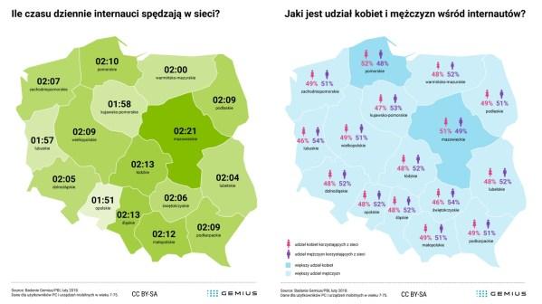 Jak wygląda korzystanie z internetu w polskich województwach? (luty 2018)