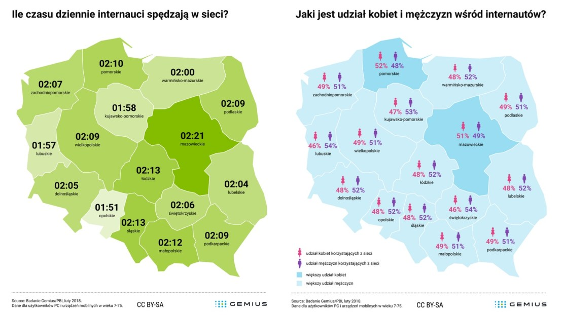 Jak Polacy korzystają z internetu w poszczególnych województwach? (luty 2018)