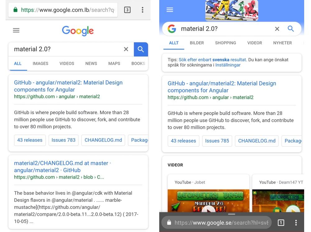 Obecny wygląd (po lewej) vs. testowy wygląd (po prawej) mobilnej wersji wyszukiwarki Google