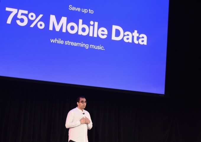 NEW YORK, NY - APRIL 24:  Spotifyís Vice President of Growth Babar Zafar demos Spotifyís new new ad-supported mobile version at a news conference at Gramercy Theatre on April 24, 2018 in New York City.  (Photo by Ilya S. Savenok/Getty Images for Spotify) *** Local Caption *** Babar Zafar