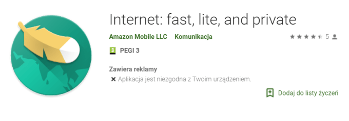 Internet: fast, lite, and private (Amazon, Android app)