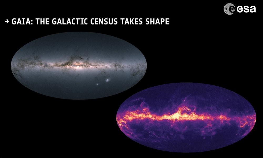 Mapa Galaktyki (1,7 mld gwiazd)   Gaia 2018