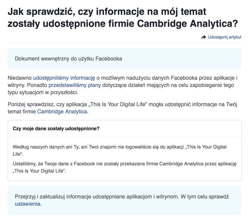 Jak sprawdzić, czy informacje na mój temat zostały udostępnione firmie Cambridge Analytica?